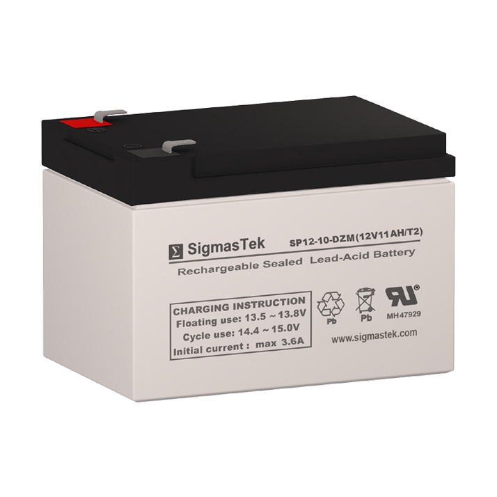 12 Volt 11 Amp Hour Sealed Lead Acid Battery Replacement with T2 F2 Terminals by SigmasTek SP12-10-DZM