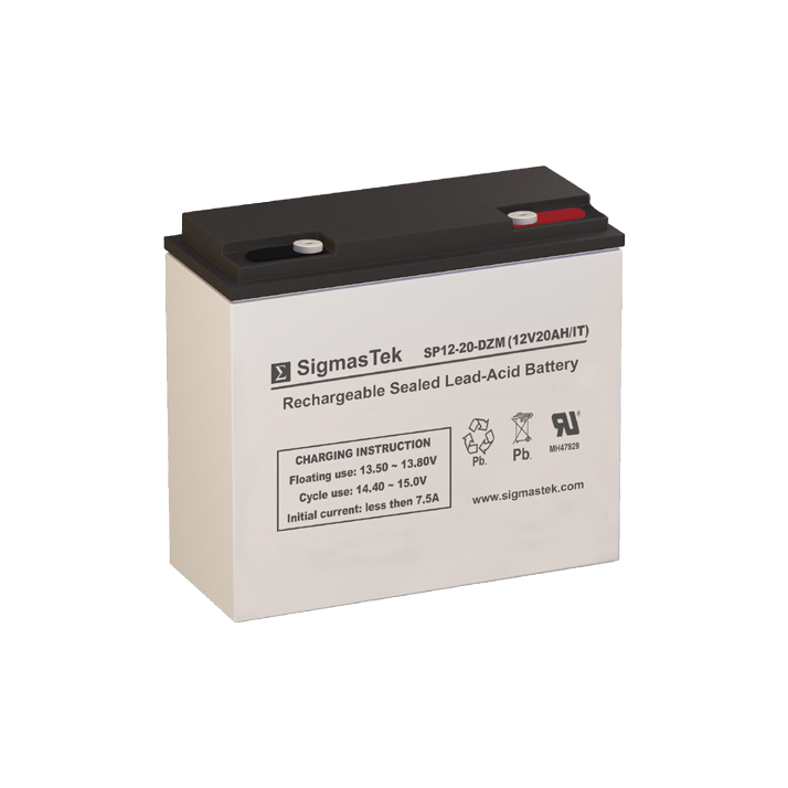 12 Volt 20 Amp Hour Sealed Lead Acid Battery Replacement with IT Terminals by SigmasTek SP12-20-DZM