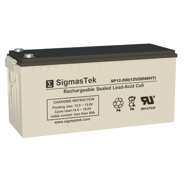 12 Volt 200 Amp Hour Sealed Lead Acid Battery Replacement with IT Terminals by SigmasTek SP12-200