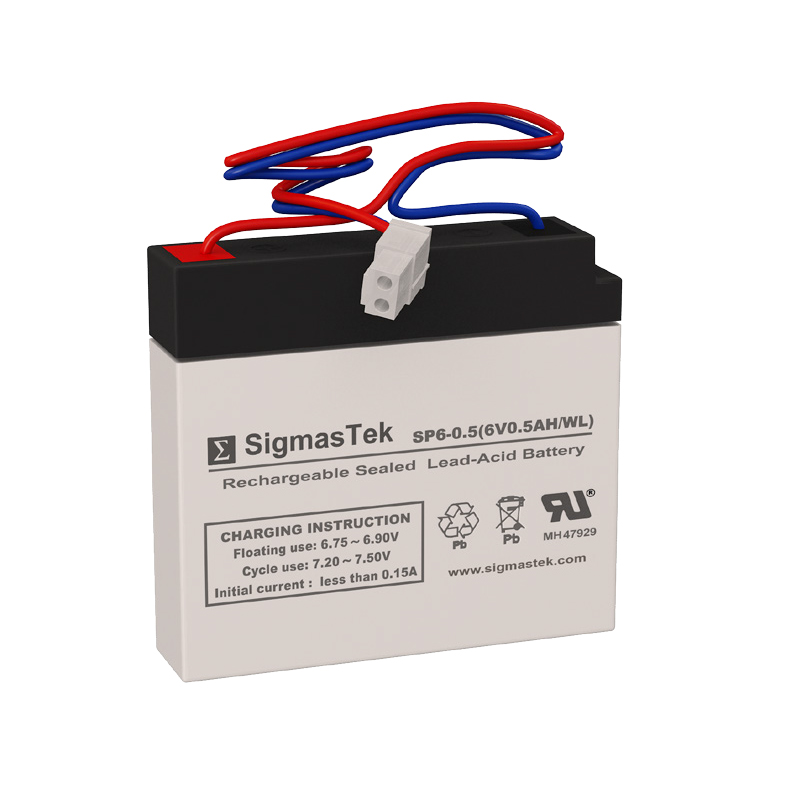 6 Volt 0.5 Amp Hour Sealed Lead Acid Battery Replacement with WL Terminals by SigmasTek SP6-0.5