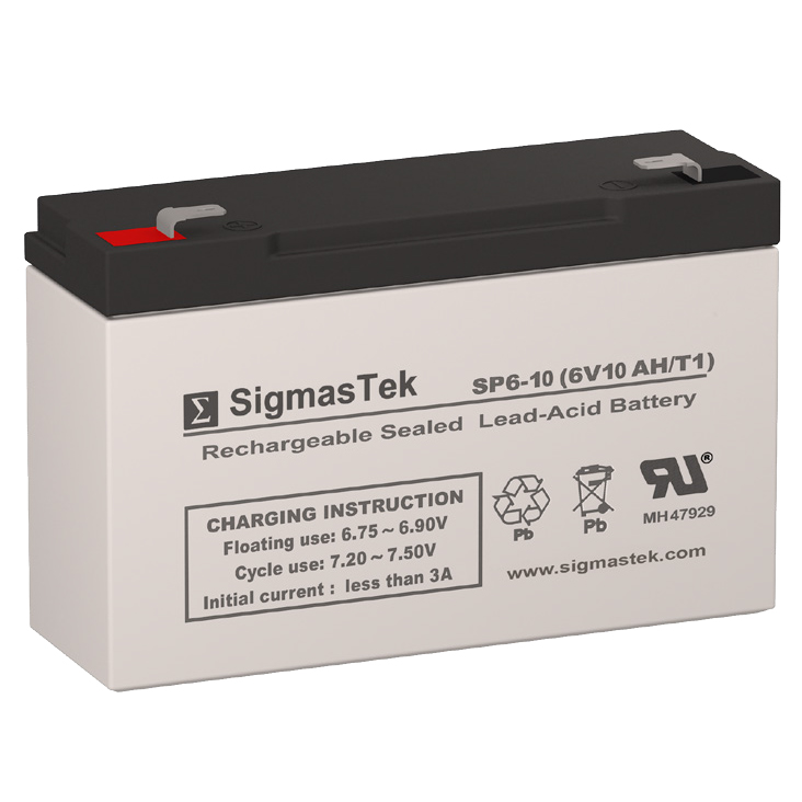 6 Volt 10 Amp Hour Sealed Lead Acid Battery Replacement with T1 F1 Terminals by SigmasTek SP6-10