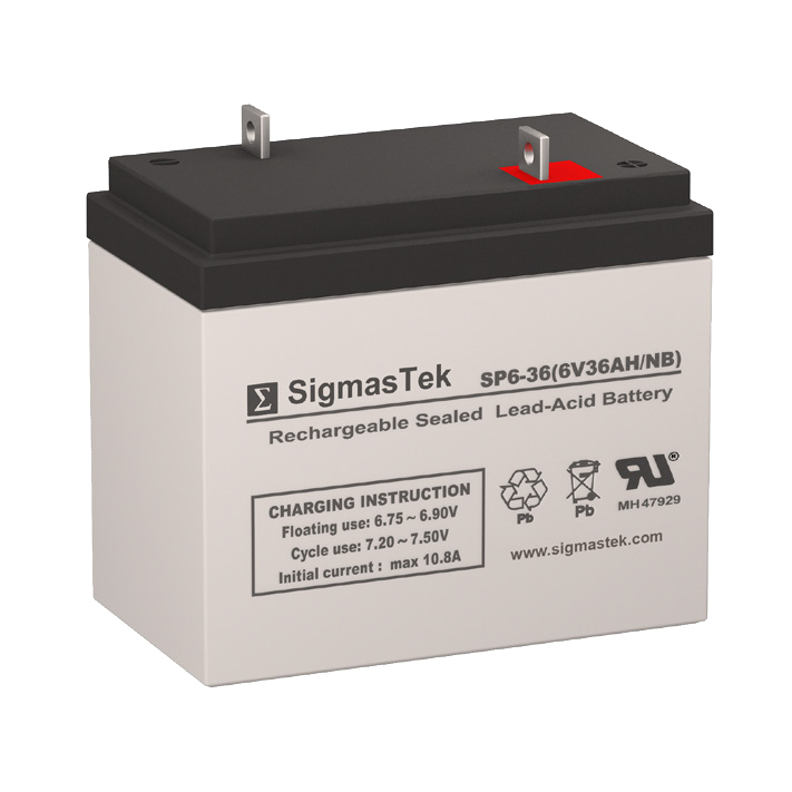 6 Volt 36 Amp Hour Sealed Lead Acid Battery Replacement with NB Terminals by SigmasTek SP6-36