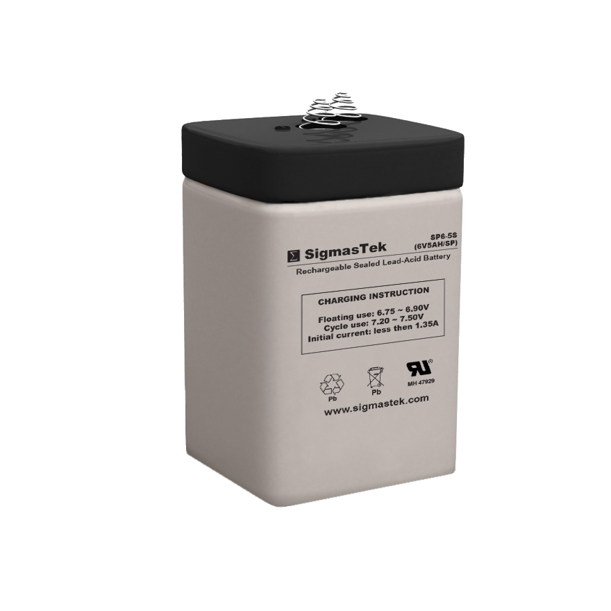 6 Volt 5 Amp Hour Sealed Lead Acid Battery Replacement with Spring Terminals by SigmasTek SP6-5S