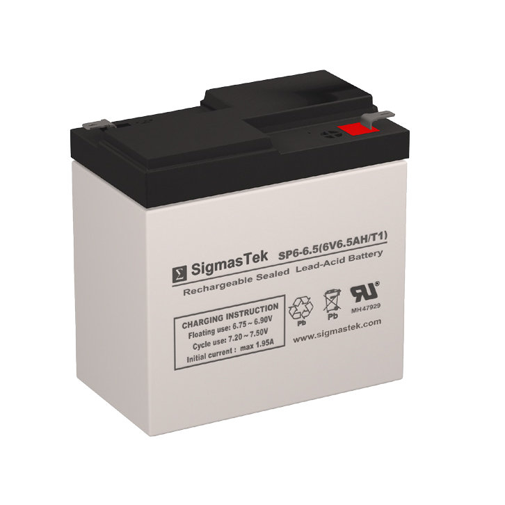 6 Volt 6.5 Amp Hour Sealed Lead Acid Battery Replacement with RT Terminals by SigmasTek SP6-6.5