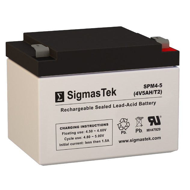 4 Volt 5 Amp Hour Sealed Lead Acid Battery Replacement with T2 F2 Terminals by SigmasTek SPM4-5