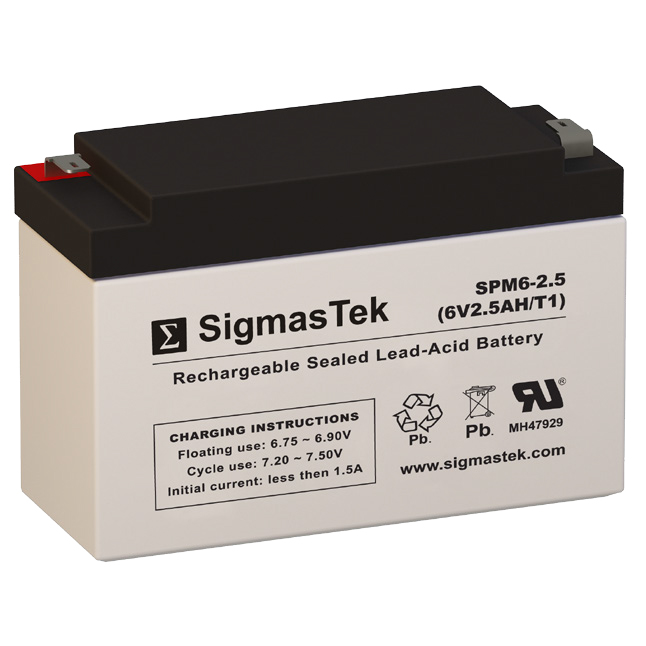 6 Volt 2.5 Amp Hour Sealed Lead Acid Battery Replacement with T1 F1 Terminals by SigmasTek SPM6-2.5