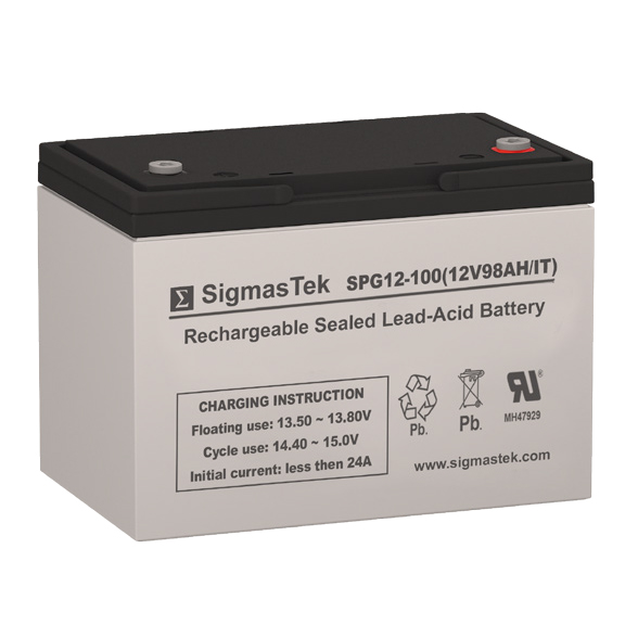 12 Volt 98 Amp Hour Sealed Lead Acid Battery Replacement with IT Terminals by SigmasTek SPG12-100