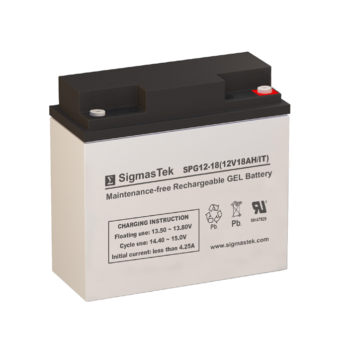 12 Volt 18 Amp Hour Sealed Lead Acid Battery Replacement with IT Terminals by SigmasTek SPG12-18