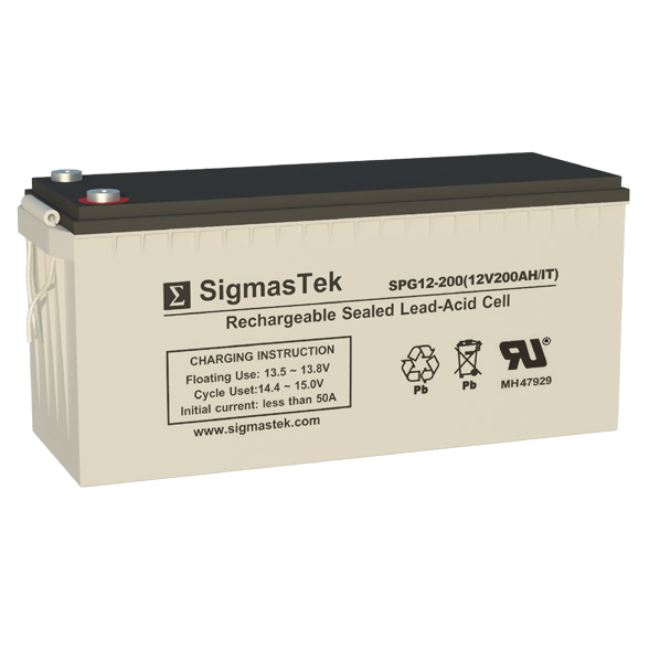 12 Volt 200 Amp Hour Sealed Lead Acid Battery Replacement with IT Terminals by SigmasTek SPG12-200