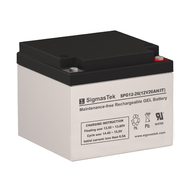 12 Volt 26 Amp Hour Sealed Lead Acid Battery Replacement with IT Terminals by SigmasTek SPG12-26