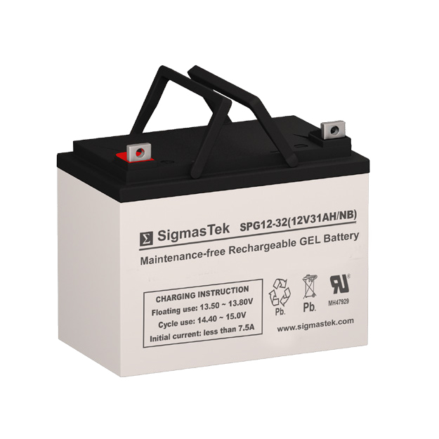 12 Volt 31 Amp Hour Sealed Lead Acid Battery Replacement with NB Terminals by SigmasTek SPG12-32