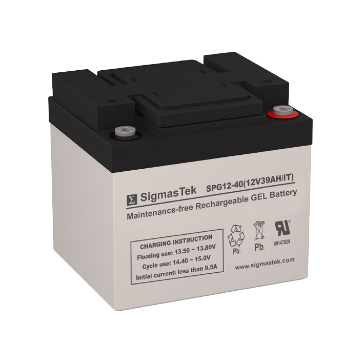 12 Volt 39 Amp Hour Sealed Lead Acid Battery Replacement with IT Terminals by SigmasTek SPG12-40