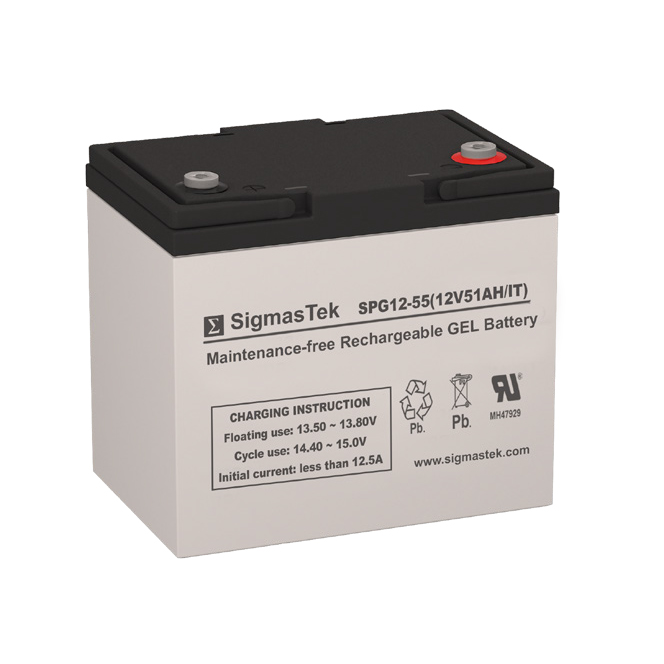 12 Volt 51 Amp Hour Sealed Lead Acid Battery Replacement with IT Terminals by SigmasTek SPG12-55