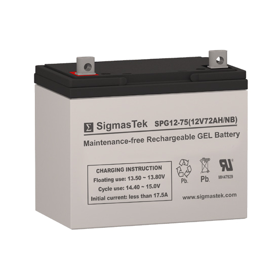 12 Volt 72 Amp Hour Sealed Lead Acid Battery Replacement with NB Terminals by SigmasTek SPG12-75