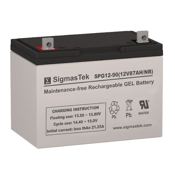 12 Volt 87 Amp Hour Sealed Lead Acid Battery Replacement with NB Terminals by SigmasTek SPG12-90