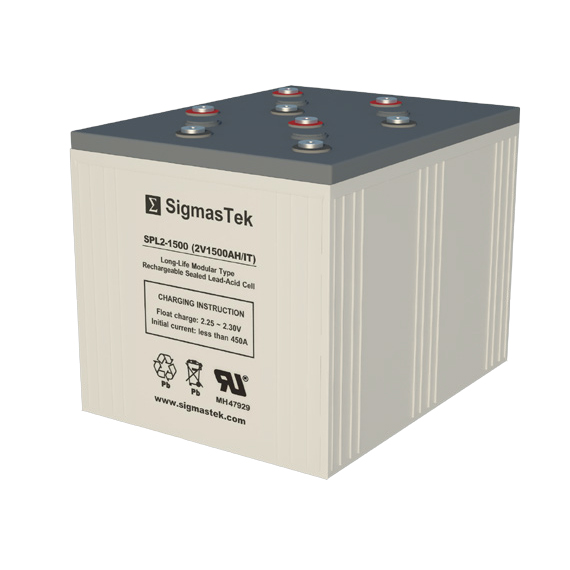 2 Volt 1500 Amp Hour Sealed Lead Acid Battery Replacement with IT Terminals by SigmasTek SPL2-1500