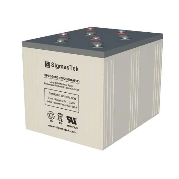 2 Volt 2000 Amp Hour Sealed Lead Acid Battery Replacement with IT Terminals by SigmasTek SPL2-2000
