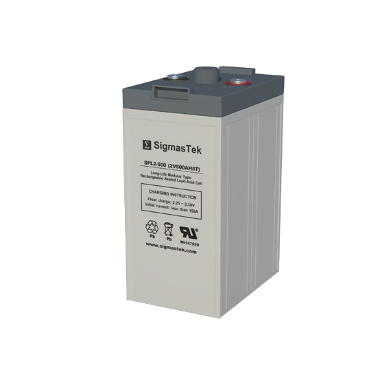 2 Volt 500 Amp Hour Sealed Lead Acid Battery Replacement with IT Terminals by SigmasTek SPL2-500