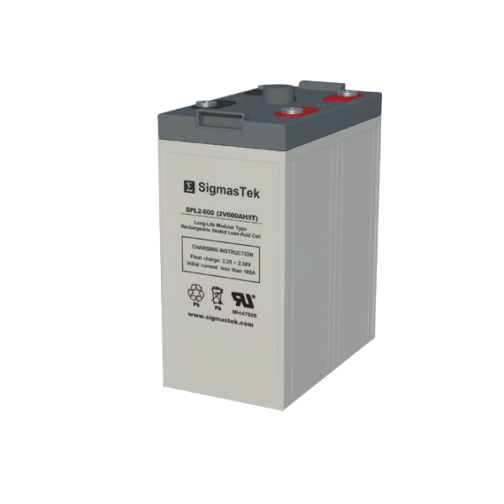 2 Volt 600 Amp Hour Sealed Lead Acid Battery Replacement with IT Terminals by SigmasTek SPL2-600
