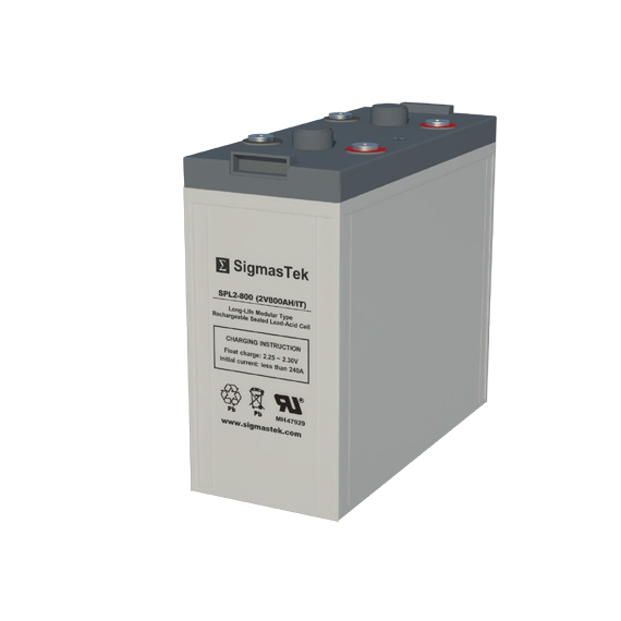 2 Volt 800 Amp Hour Sealed Lead Acid Battery Replacement with IT Terminals by SigmasTek SPL2-800