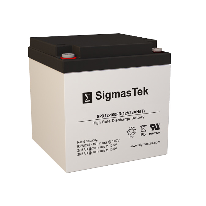 12 Volt 28 Amp Hour Sealed Lead Acid Battery Replacement with IT Terminals by SigmasTek SPX12-100FR