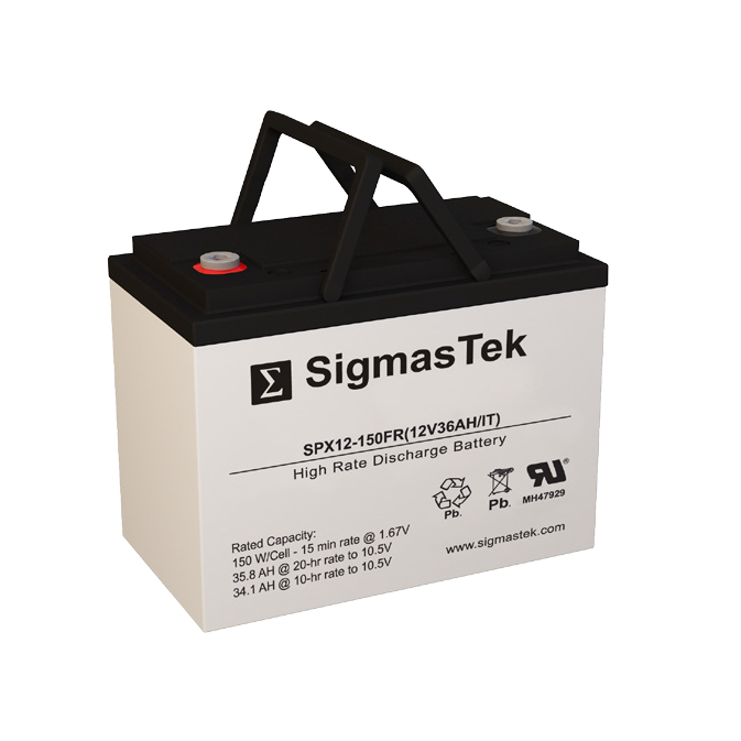 12 Volt 36 Amp Hour Sealed Lead Acid Battery Replacement with IT Terminals by SigmasTek SPX12-150FR