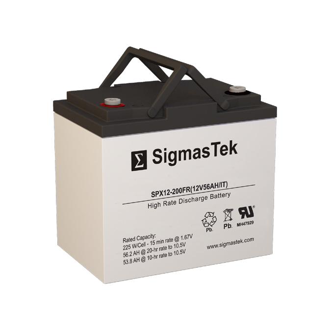 12 Volt 56 Amp Hour Sealed Lead Acid Battery Replacement with IT Terminals by SigmasTek SPX12-200FR