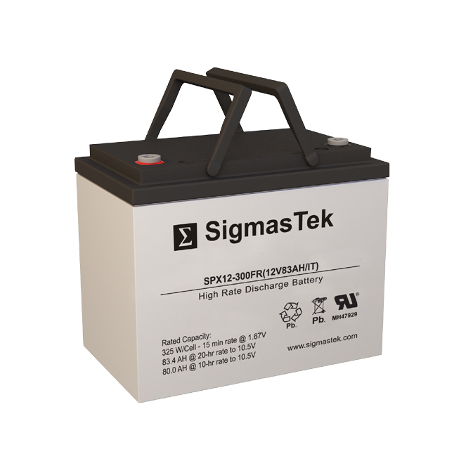12 Volt 83 Amp Hour Sealed Lead Acid Battery Replacement with IT Terminals by SigmasTek SPX12-300FR