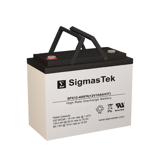 12 Volt 104 Amp Hour Sealed Lead Acid Battery Replacement with IT Terminals by SigmasTek SPX12-400FR