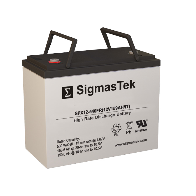 12 Volt 159 Amp Hour Sealed Lead Acid Battery Replacement with IT Terminals by SigmasTek SPX12-540FR